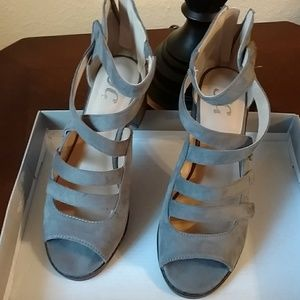 Journee Collection Arbor Gray Strappy Sandals.